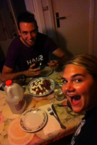 Just me being silly and my host brother Rafa thinking im crazy.. typical dinner :P